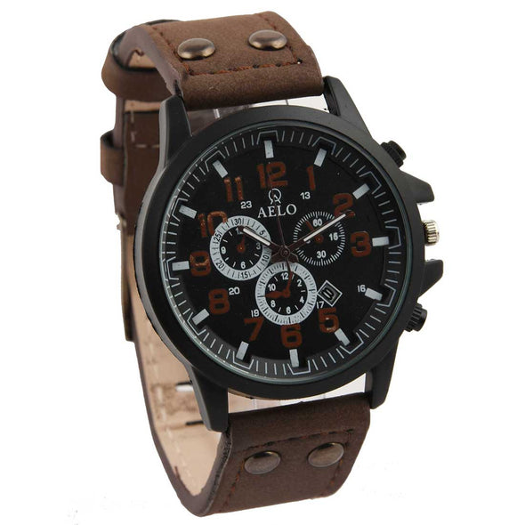 Aelo Brown Leather Strap Quartz Sport Army Watch For Men