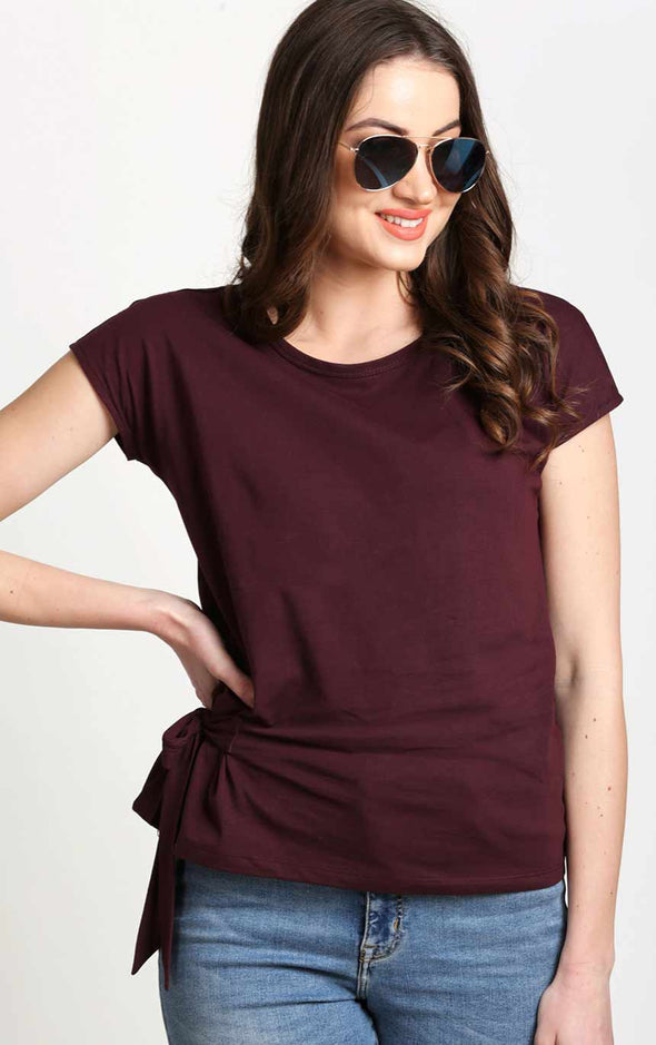 Burgundy-Side-Knot-Designer-Top