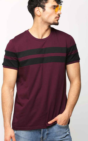Burgundy-With-Black-Stripe-T-Shirt