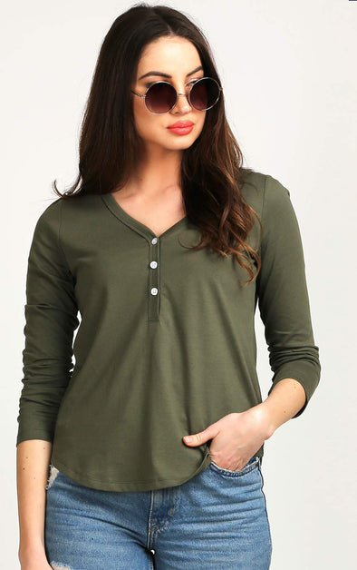 Button-Up-Olive-Full-Sleeve-Fancy-Top