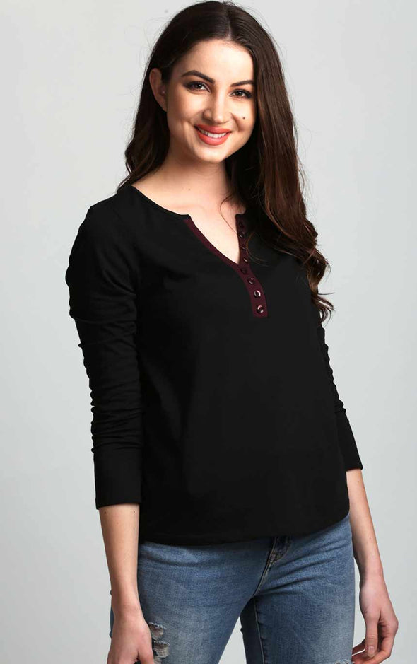 Button-Up-Stylish-Neck-full-Sleeve-Black-Top