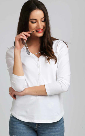 Button Up White Full Sleeve Fancy Top