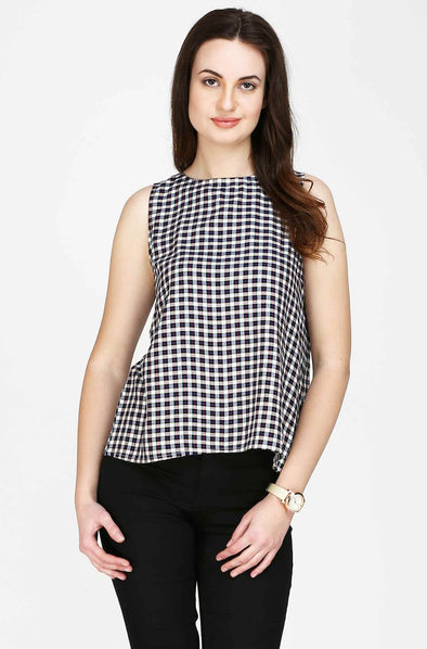 Checked Designer Back Sleeveless Top