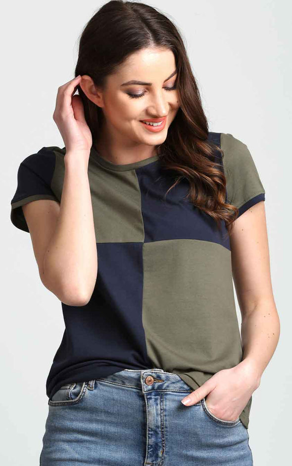 Checkered-Blue-And-olive-Summer-Top
