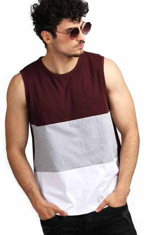 Colourblocked-Sleeveless-Tee-Shirt