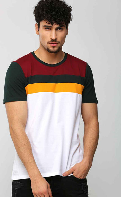 Colourblocked White T shirt In Green Sleeve