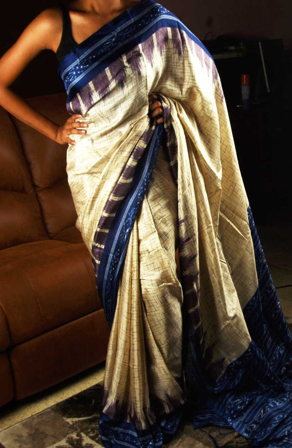 Cream Colour Saree With Blue Border