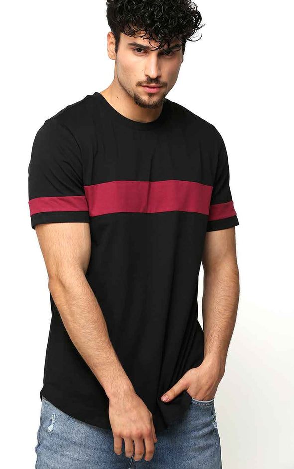 Crew Neck Black Casual Men's T Shirt