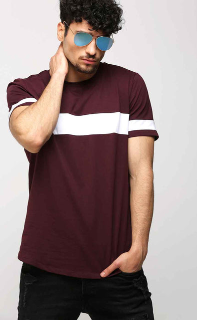 Crew Neck Burgundy Casual Men's T Shirt