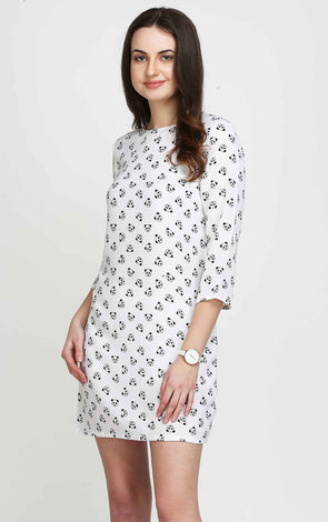 Cute Panda Print 3/4th Sleeves Casual Dress