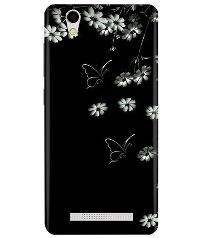 Black Floral Ginonee F103 Back Cover
