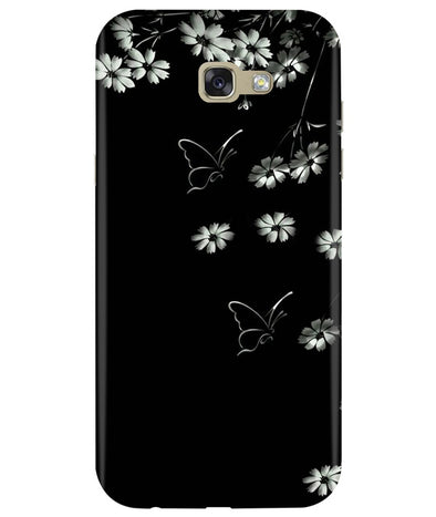 Black Floral Samsung A7 2017 Back Cover