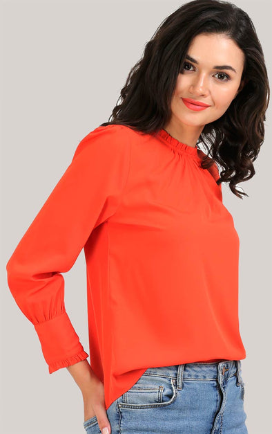 Designer Buttoned Orange Women's Top
