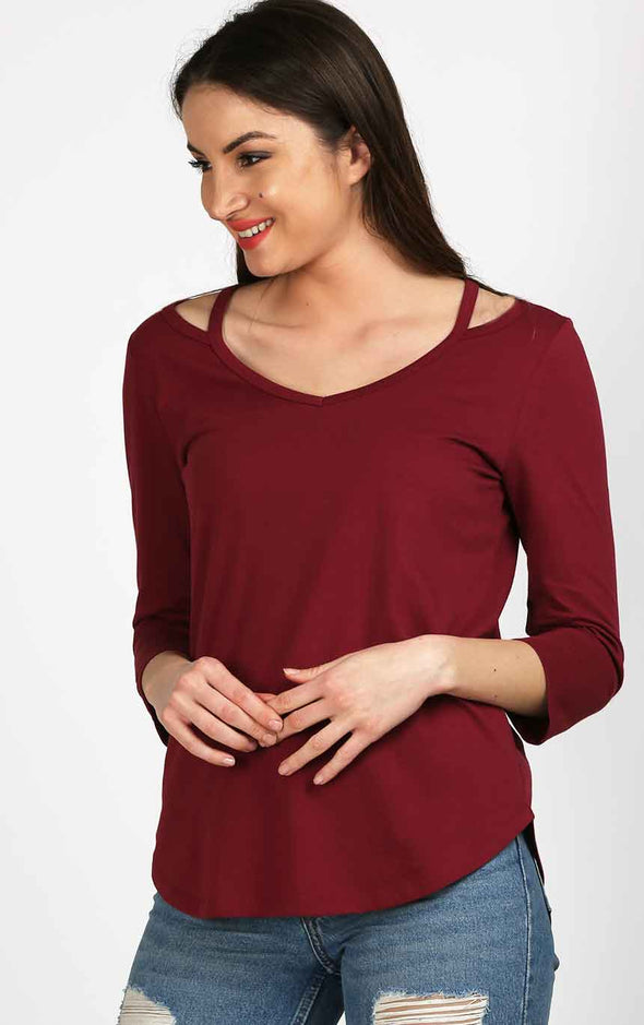 Designer Neck Dark Maroon Top