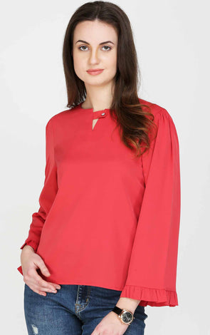 Fancy Bell Sleeves Pink Top