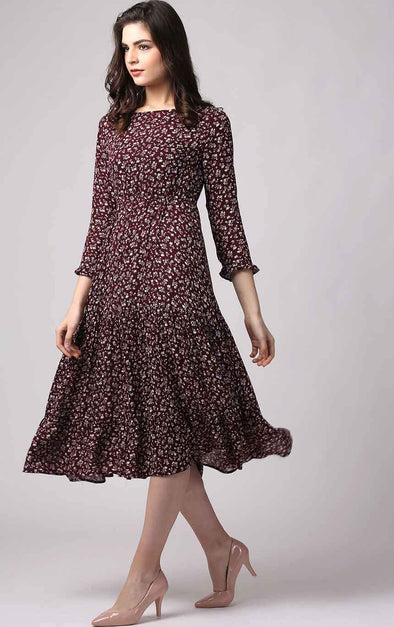 Floral Burgundy Designer Dress View