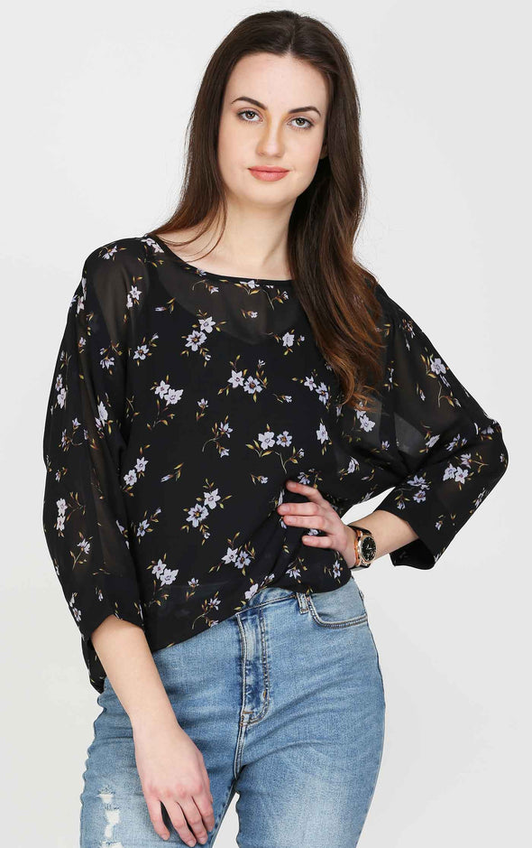 Floral Print Round Neck Black Top
