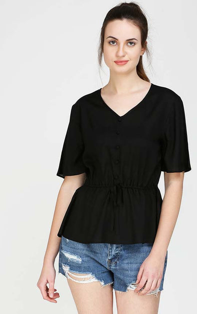 Front Bow Black Ruffle Top