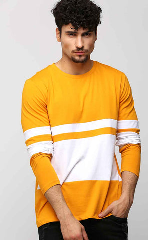 Full Sleeve White And Mustard Cotton T Shirt