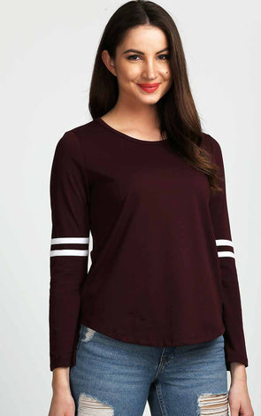 Full Sleeve With White Striped Burgundy Top