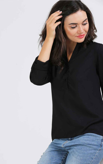 Full Sleeve Women's Black Top