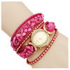 Gold Dial Pink Strap Watch