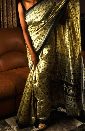 Golden Handloom Silk Saree Warli Print With Black Border