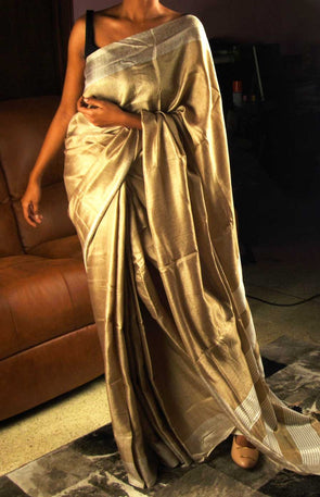 Golden Saree With Silver Border