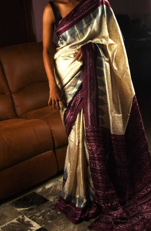 Cream Saree With Wine Border In Handloom