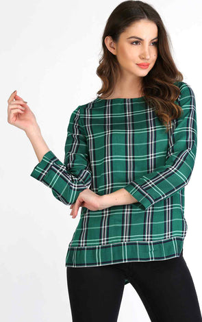 Green check full sleeve top for women