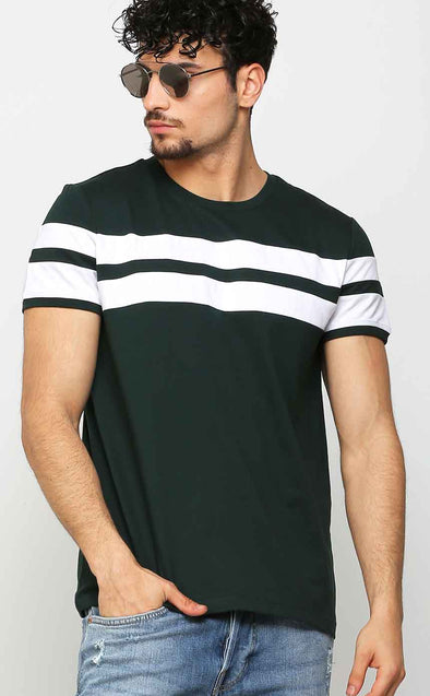 Green With White Stripe T Shirt