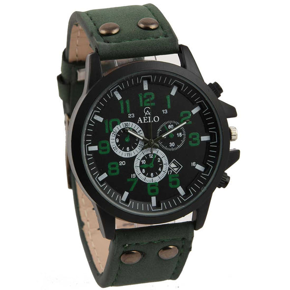 Aelo Green Leather Belt Army Sports Men's Watch
