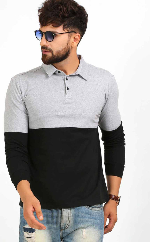 Grey And Black Polo T Shirt In Full Sleeve