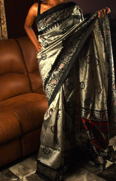 Grey Saree With Black Border Handloom Silk
