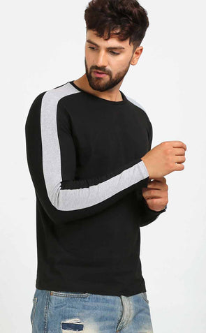 Grey Stripe Sleeve Black T Shirt