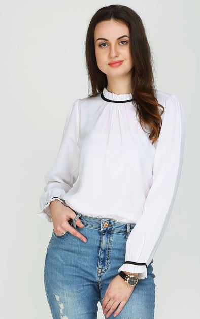 High Neck Designer Sleeves White Top