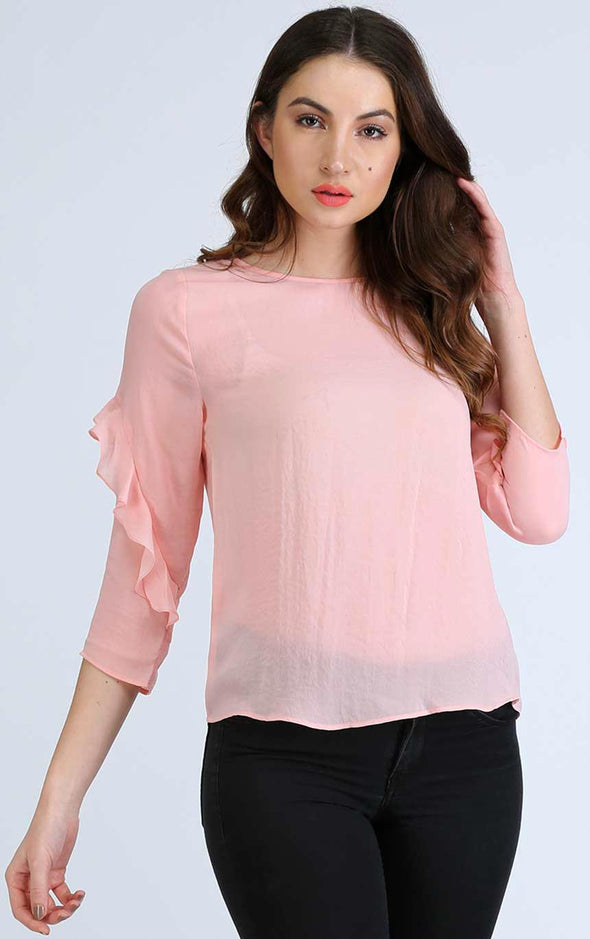 Round Neck Frill Sleeve Top
