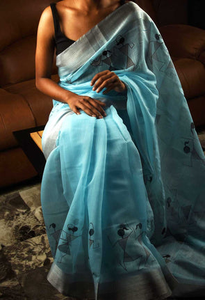 Light Blue Saree With Silver Border In Warli Print