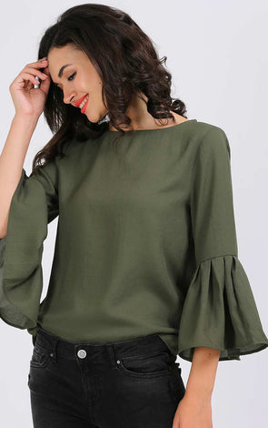Light Green Bell Sleeve Top