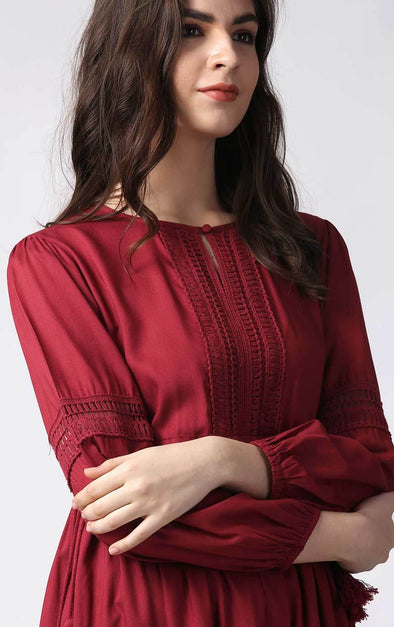 Maroon Fashion Dress For Women Detail View