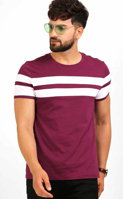 Maroon With White Stripe T Shirt
