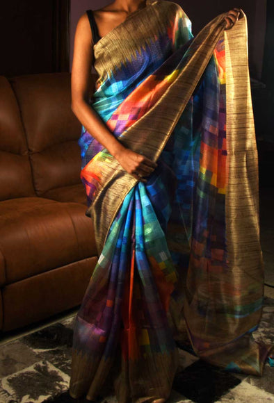 Navy Blue Saree Handloom Printed