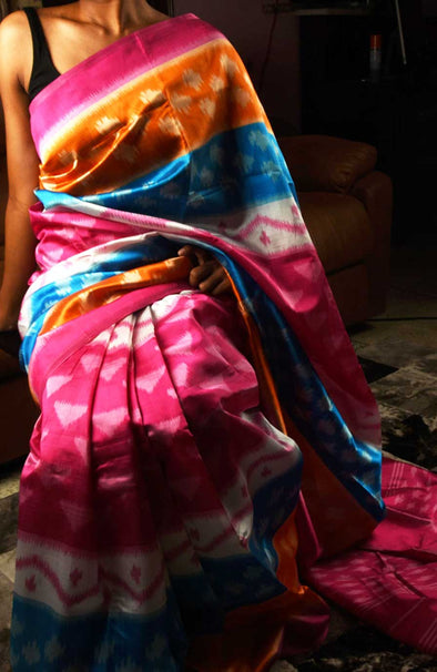 Multicolor Handloom Silk Saree Party Look
