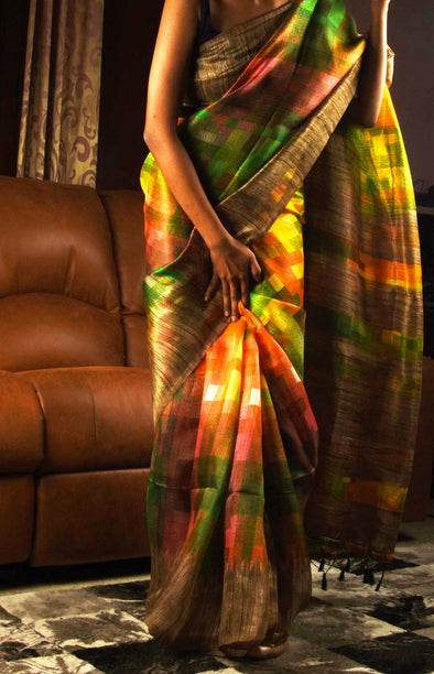 Multicolor Saree With Golden Border