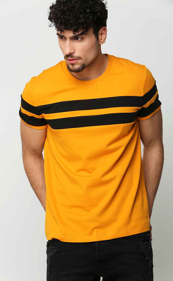Mustard With Black Stripe T Shirt