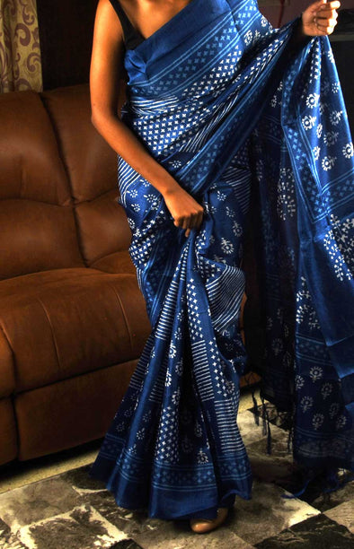 Navy Blue All Over Printed Stylish Saree