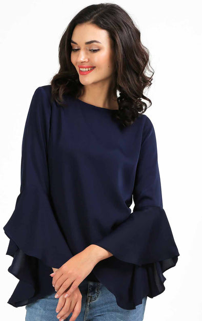 Navy Blue Flute Sleeve Top