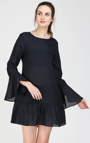 Navy Blue Long Leaf Sleeves dress
