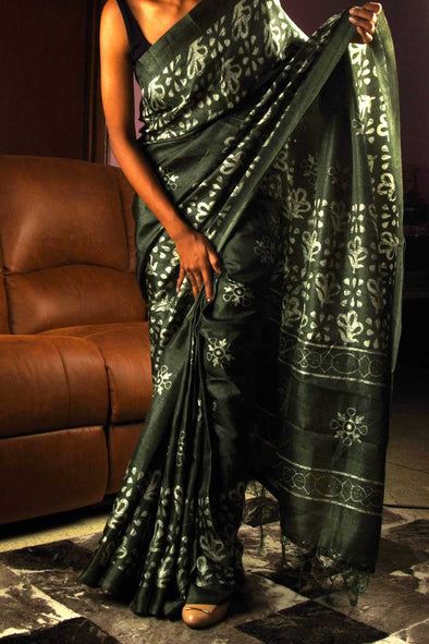 Olive Green Saree In Floral Print