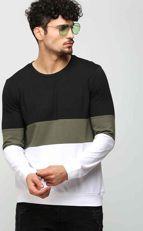 Olive Green Stripe Long Sleeve T Shirt